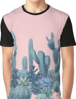 Serenity Cacti on Rose Quartz Background Graphic T-Shirt