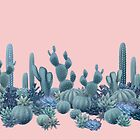 Serenity Cacti on Rose Quartz Background by Iker Paz Studio