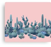 Serenity Cacti on Rose Quartz Background Canvas Print