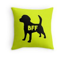 Pet BFF - Dog Best Friend Forever (black silhouette, color background) Throw Pillow