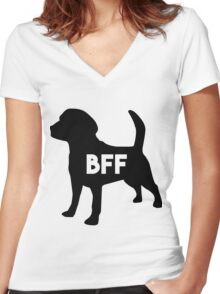 Dog BFF - Dog Best Friend Forever (black silhouette, white background) Women's Fitted V-Neck T-Shirt