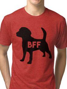 Dog BFF - Dog Best Friend Forever (black silhouette, white background) Tri-blend T-Shirt