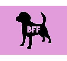 Pet BFF - Dog Best Friend Forever (black silhouette, color background) Photographic Print