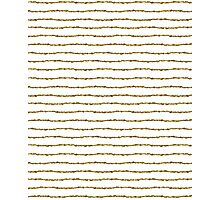 White & Gold Stripes Pattern Photographic Print
