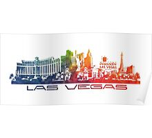 Las Vegas skyline colored Poster
