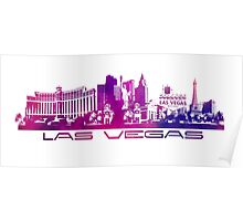 Las Vegas skyline purple Poster