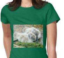 Twin Cygnets at Abbotsbury, Dorset UK Womens Fitted T-Shirt