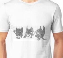 Three Gargoyles Eating Fast Food. Unisex T-Shirt