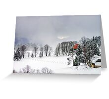 Beautiful winter snowy landscape with fog, alsacien mountains Greeting Card