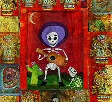 Day of the Dead Mariachi Musician Guitar Player with dog  by dayofthedeadart