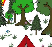 Cartoon Camping Scene Sticker
