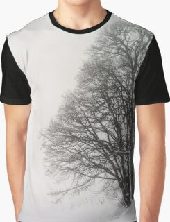 Beautiful winter snowy landscape with fog, alsacien mountains Graphic T-Shirt