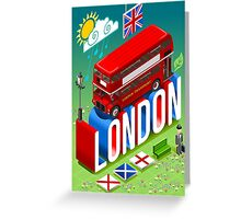 London-Bus-Postcard-Isometric Greeting Card