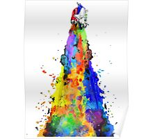 Rainbow Spaceship Light Background Poster