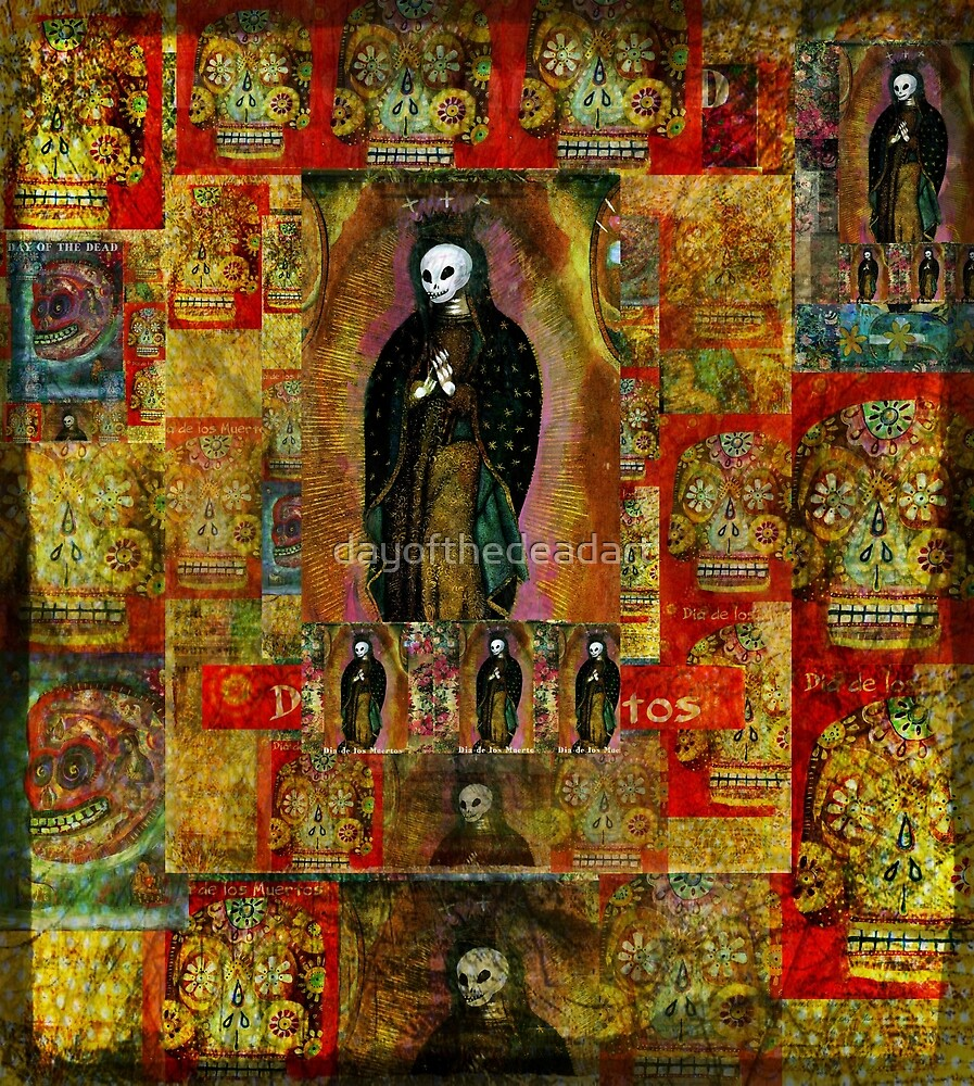 Virgin Mary Calavera, Day of the Dead by dayofthedeadart