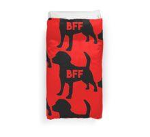 Pet BFF - Dog Best Friend Forever (black silhouette, pop color background) Duvet Cover