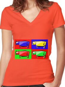 Pig Warhol like Women's Fitted V-Neck T-Shirt