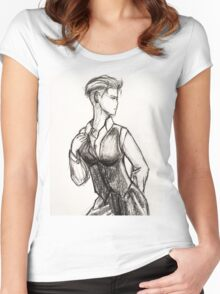 Busty White Duchess-Zoe Women's Fitted Scoop T-Shirt