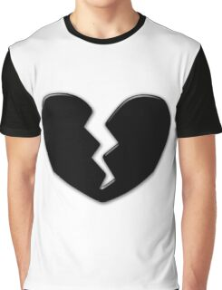 Broken Heart Love Black Dark Graphic T-Shirt
