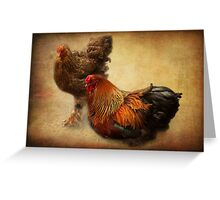 Rooster and hen Greeting Card