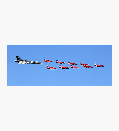 Vulcan XH558 Red Arrows flyby RIAT 2015 Photographic Print