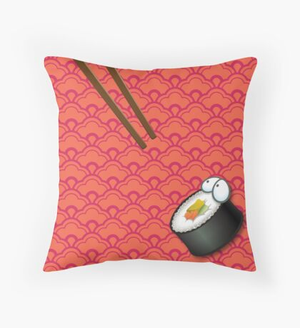Startled Sushi Throw Pillow