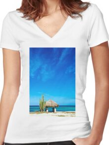 Beach Hut Women's Fitted V-Neck T-Shirt