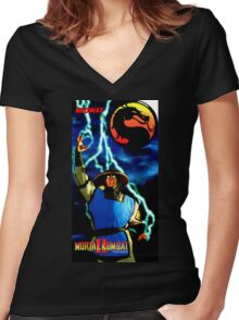 mk raiden  Women's Fitted V-Neck T-Shirt