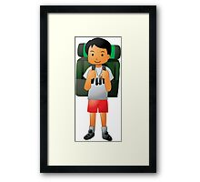 Traveler Backpacker Kids Graphic Illustration Framed Print