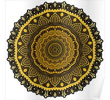 Thick Gold Flower Pattern Poster