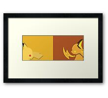 Yellow + Brown Pikachu Pokemon Framed Print