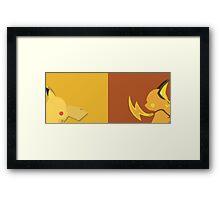 Yellow + Brown Pikachu Pokemon Framed Print