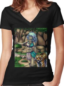 Tribal Girl Women's Fitted V-Neck T-Shirt