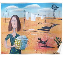 Painting of pioneer woman in outback Australia Poster
