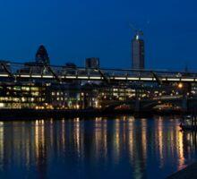 British Symbols and Landmarks - Millennium Bridge and Thames River at Low Tide Sticker