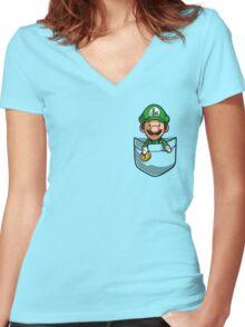 Pocket Luigi Women's Fitted V-Neck T-Shirt