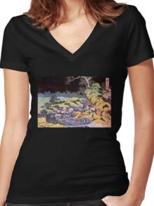 'Ocean Landscape' by Katsushika Hokusai (Reproduction) Women's Fitted V-Neck T-Shirt