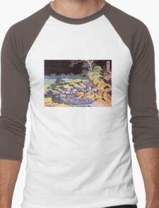 'Ocean Landscape' by Katsushika Hokusai (Reproduction) Men's Baseball ¾ T-Shirt