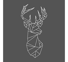 Geometric Stag (White on Black) Photographic Print