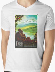 Earth - NASA Travel Poster Mens V-Neck T-Shirt