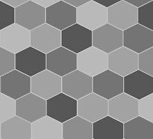Grey Hexagonal Tessellation by becSamways