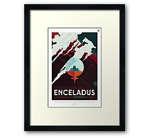 Retro NASA Space Poster - Enceladus Framed Print
