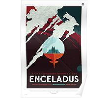 Retro NASA Space Poster - Enceladus Poster