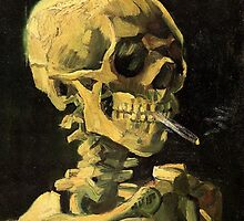 Skull with Burning Cigarette by Vincent van Gogh by masterpiececafe