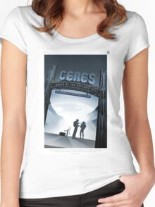 Ceres - NASA Travel Poster Women's Fitted Scoop T-Shirt