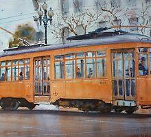 Orange Streetcar, San Francisco by jadlart
