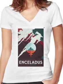 Enceladus - NASA Travel Poster Women's Fitted V-Neck T-Shirt