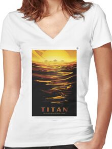Titan - NASA Travel Poster Women's Fitted V-Neck T-Shirt