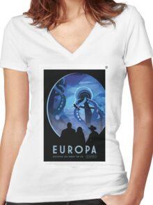 Europa - NASA Travel Poster Women's Fitted V-Neck T-Shirt