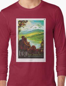 Retro NASA Space Poster - Earth Long Sleeve T-Shirt